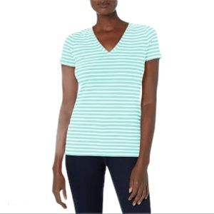 TAHARI Stripe V cut Tee/Top Mint Green/Ivory Small